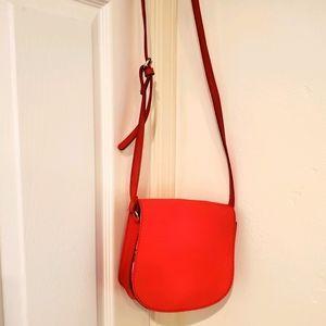 Cooperative orange red leather handbag